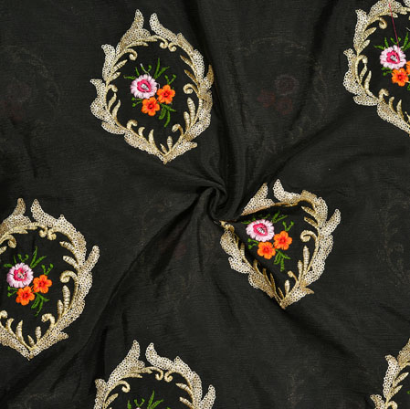 Black Pink Orange and Green Embroidery Silk Chinon Fabric-18659