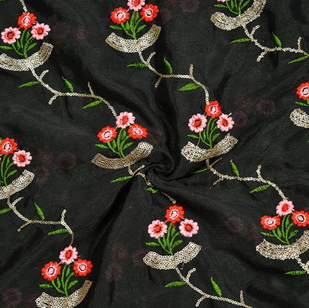 Black Pink Red and Green Embroidery Silk Chinon Fabric-18658