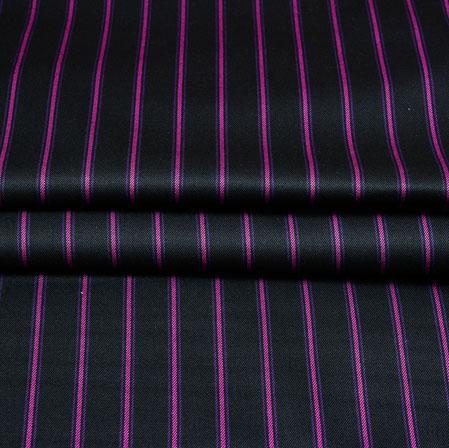 Black Pink Stripe Wool Fabric-90191