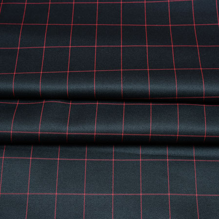 Black Pink Checks Wool Fabric-90254