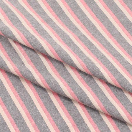 Khadi Shirt (2.25 Meter) Fabric-Black Pink and Beige Stripe Handloom-140474