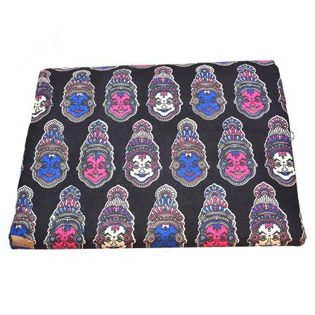Black-Pink and Blue Kuchipudi Kalamkari Cotton Fabric-5793