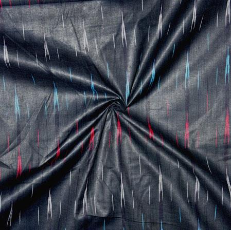 Black Pink and Cyan Ikat Cotton Fabric-11139
