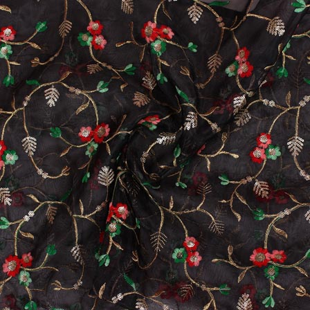 Black Pink and Green Embroidery Organza Silk Fabric-51637