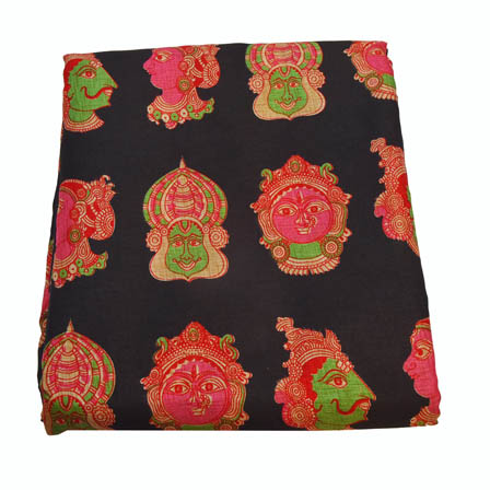 Black-Pink and Green Kuchipudi Design Kalamkari Manipuri Silk-16018
