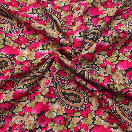 Black-Pink and Green Paisley Design Crepe Fabric-18091