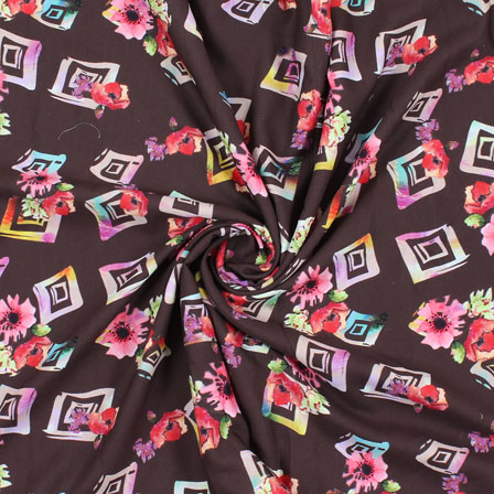 Black Pink and Red Flower Rayon Fabric-15073