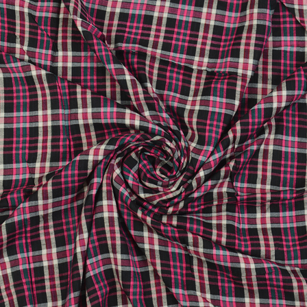 Black-Pink and White Checks Cotton Handloom Khadi Fabric-40280