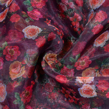 Black Pink and White Floral Organza Digital Silk Fabric-22349