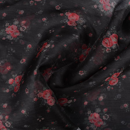 Black-Pink and White Flower Organza Digital Print Fabric-51363