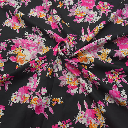 Black-Pink and White Flower Pattern Crepe Fabric-18070