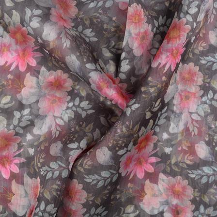 Black-Pink and White Organza Digital print Fabric-51353