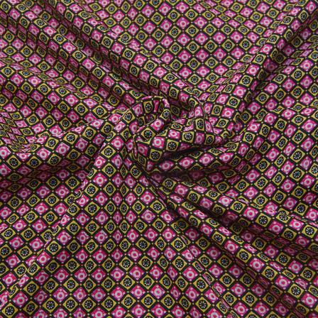 Black-Pink and White Unique Design Crepe Fabric-18087