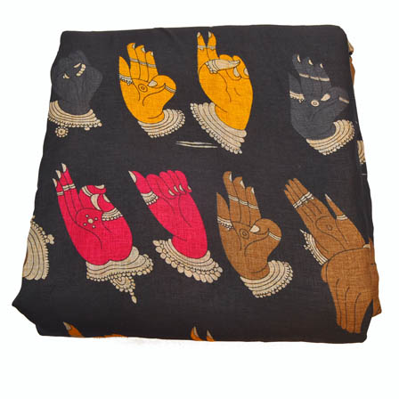 Black-Pink and Yellow Hand Mudra Design Kalamkari Manipuri Silk-16030