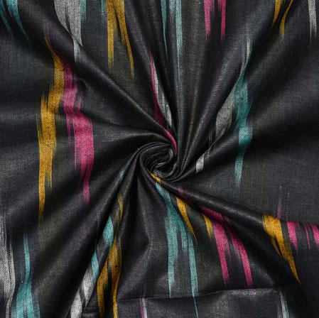 Black Pink and Yellow Ikat Cotton Fabric-11117