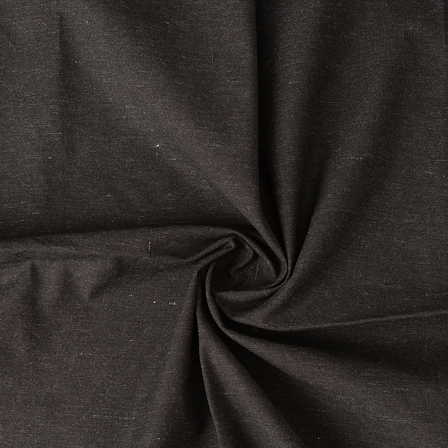 Black Plain Cotton Handloom Fabric-40203