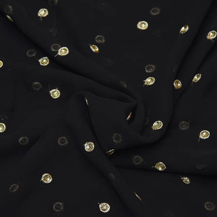 Black Poly Georgette Base Fabric With Golden Dot Embroidery-60051
