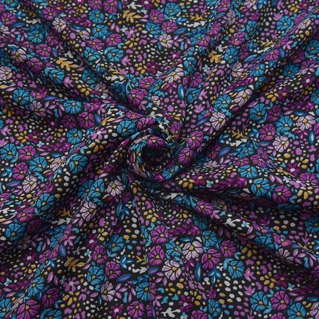 Black-Purple and Blue Small Flower Design Crepe Fabric-18086