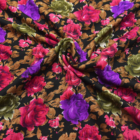 Black-Purple and Pink Floral Pattern Crepe Fabric-18014
