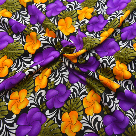 Black-Purple and Yellow Floral Shape Crepe Fabric-18016