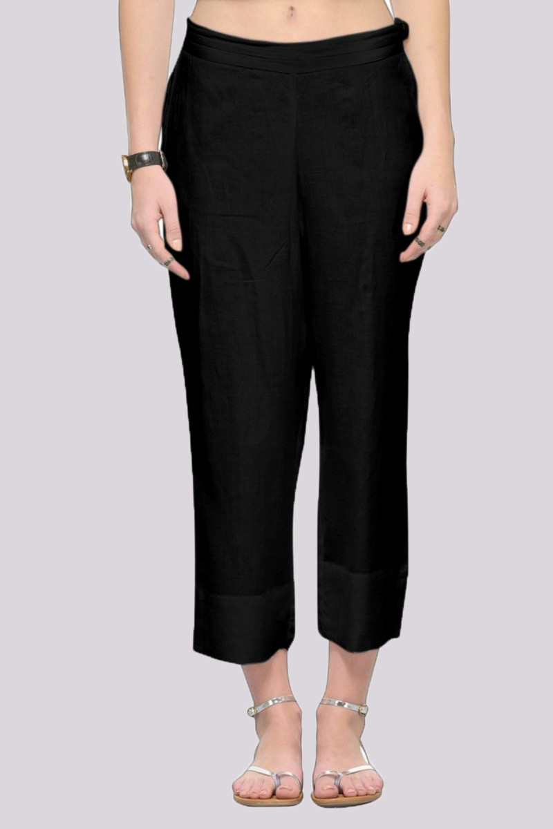 Black Rayon Ankle Length Pant-33679