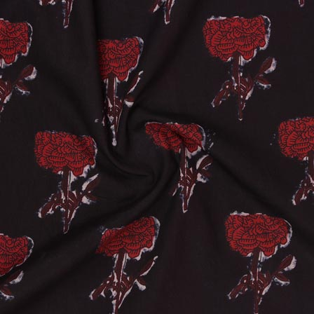Black Red Block Print Rayon Fabric-14898