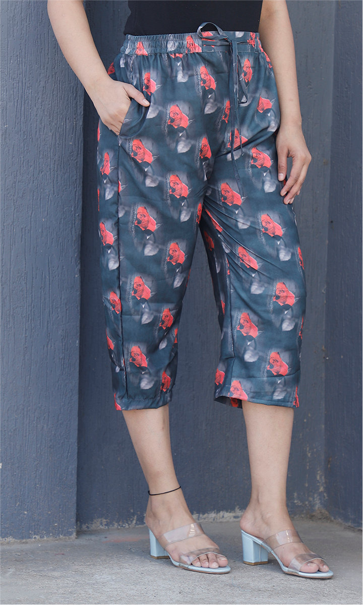Black Red Crepe Silk Women culottes-34439