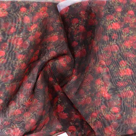 Black Red Digital Floral Organza Silk Fabric-51751
