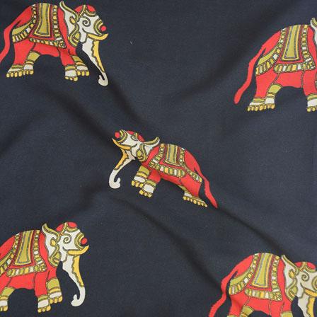 Black Red Elephant Crepe Silk Fabric-18205