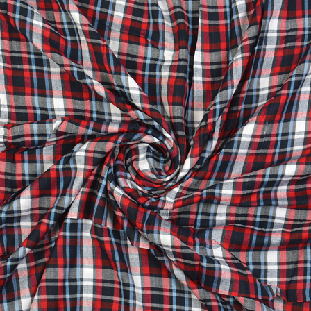 Black-Red and Blue Checks Cotton Handloom Fabric-40282