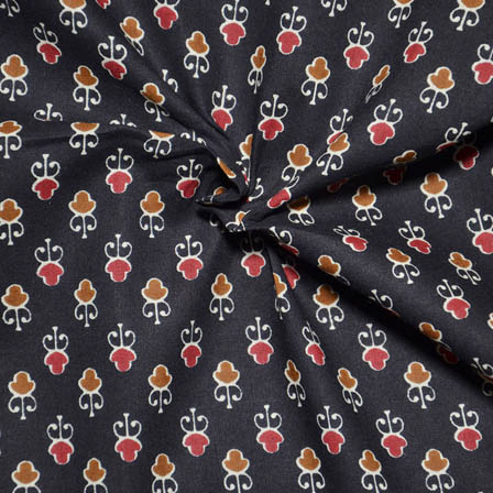 Black-Red and Brown Unique Pattern Ajrakh Block Print Fabric-14072