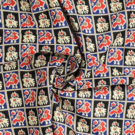 Black-Red and Cream Cotton Kalamkari Fabric-10104