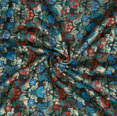 Black Red and Cyan Kinkhab Banarasi Brocade Silk Fabric-12828