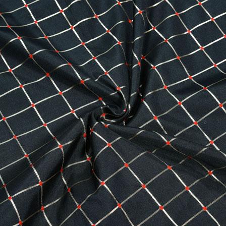 Black Red and Golden Checks Zari Taffeta Silk Fabric-12322
