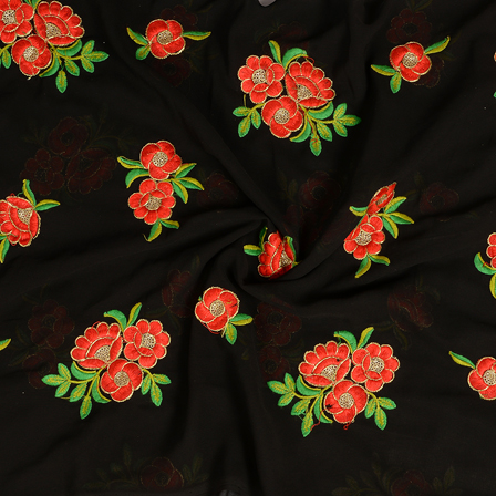 Black-Red Golden Floral Embroidery Chiffon Fabric-60375