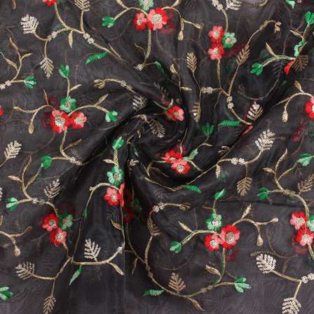 Black-Red and Golden Flower Organza Embroidery Fabric-51450