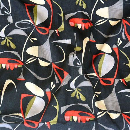 Black Red and Gray Flower Crepe Silk Fabric-18220