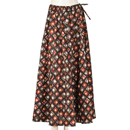 Black-Red and Gray Square Design  Block Print Cotton Long Skirt-23074