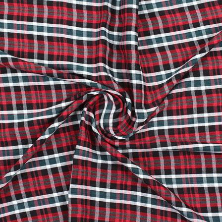 Black Red and Green Check Handloom Khadi Cotton Fabric-40463