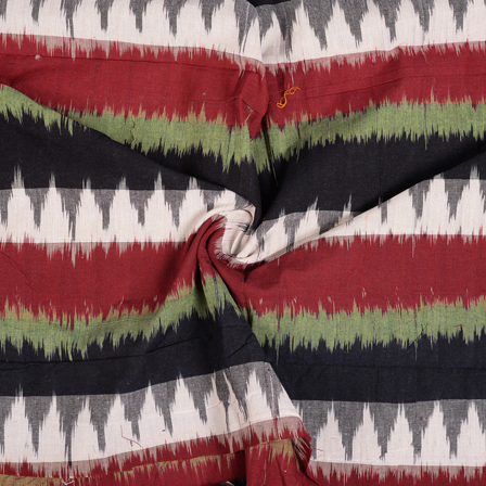 Black-Red and Green Cotton 3D Ikat Fabric-12103