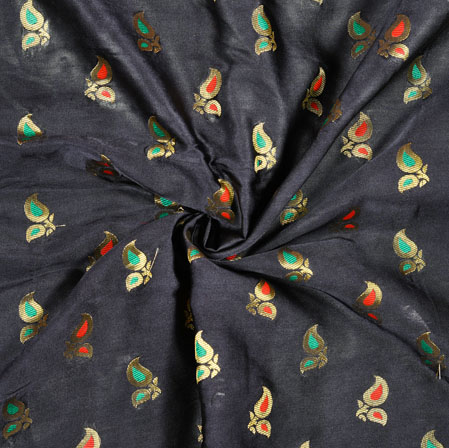 Black Red and Green Floral Satin Brocade Meena Fabric-12931