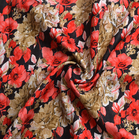 Black-Red and Green Flower Design Banglori Silk Fabric-4894