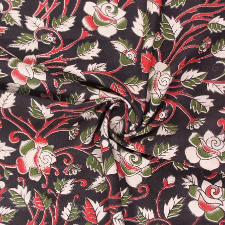 Black-Red and Green Flower Kalamkari Cotton Fabric-10179