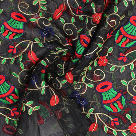 Black-Red and Green Flower Organza Embroidery Fabric-51424