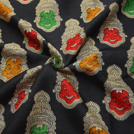 Black-Red and Green Kuchipudi Face Pattern Kalamkari Manipuri Silk-16079