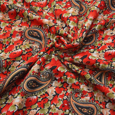 Black-Red and Green Paisley Design Crepe Fabric-18094