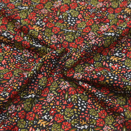 Black-Red and Green Small Flower Design Crepe Fabric-18048