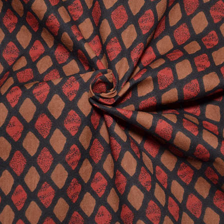 Black-Red and Light Brown Square Design Block Print Cotton Fabric-14024