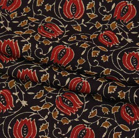 Black Red and Mustard Block Print Cotton Fabric-14938