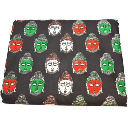Black-Red and White Buddha Pattern Kalamkari Cotton Fabric-5794